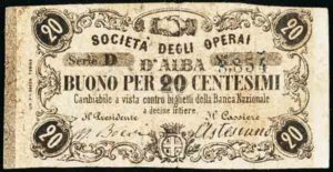 Societa' degli operai d'Alba 20 cent.